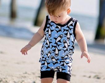 Shark Romper - Baby romper - Toddler romper - Boy Romper - Girl romper - Knit Fabric Romper - Beach Romper- Baby Clothing - Baby Unisex