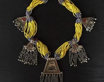 Vintage Afghanistan KUCHI Tribal Beadwork Necklace Pendants Coins Costume Supply Belly Dance Uber Kuchi®
