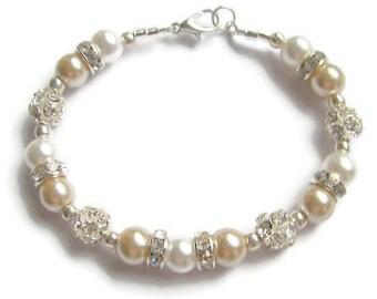 Bridal Bracelet, Pearl and Crystal Wedding Jewelry,  White and Beige Pearls, Pearl and Crystal Fireball Bracelet, Bridesmaid Bracelet