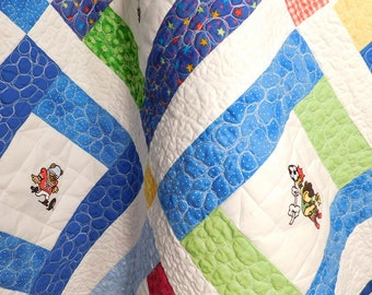 Baby Boy Sports Quilt, Lap Quilt, Wall Hanging Quilt, Baby Quilt, Blue, Green, Red, Yellow, White Backing Crib Blanket, Baby Shower Gift
