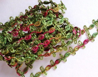 Rosebud Chain Braid, 7/16 inch Sage - Rose - Gold -selling by the yard