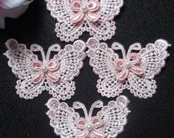 sew on butterfly set of 4 white  or pink color
