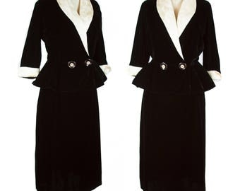 1950s Suit // Black Velvet Peplum Chinoiserie Fabric Trimmed Suit