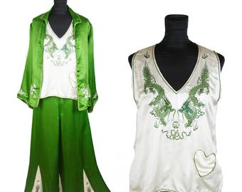 1920s Pajamas // Dragon Embroidered Oriental Three Piece Wide Leg Green Silk Lounge Pajamas