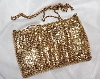 Beautiful, Vintage, Y & S, Ladies, Gold Metal Mesh Clutch with Chain