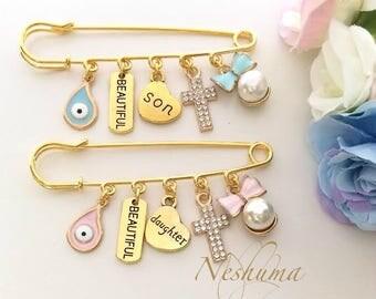 Twin Gift, Twin Baby Shower Gift, Boy Girl Twins Newborn Twin, Newborn Gift, Baby Jewelry, Stroller Pin, Baby Pin, Baby Evil Eye, Baby Pins