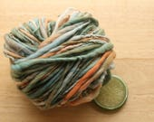 Patina - Handspun Merino Wool Yarn Hand Dyed Orange Blue Bulky