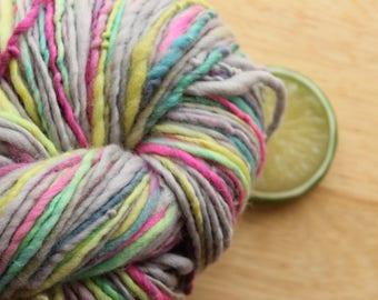Neon Rainbow - Yarn Handspun Worsted Weight Merino Wool Grey