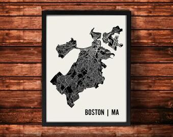 Boston Map Artwork | Map of Boston | Boston Massachusetts Map | Boston City Map | Boston Poster | Boston Wall Art Print