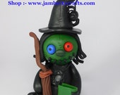 Reserved for Sarah. Olive the Witch. Voodoo Doll. Hand Sculpted Polymer Cay Figurine