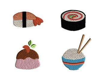 Mini Oriental Cuisine Machine Embroidery Design Set-INSTANT DOWNLOAD