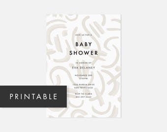 Modern Printable Invitation / Simple DIY Invite / Bold Pattern / Neutral Taupe / Coed Baby Shower, Birthday Party, Housewarming, Graduation