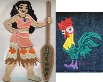 Hawaiian girl and chicken appliqué set 5x7 and 6x10 instant download