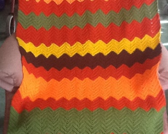 Zig Zag Afghan In Bright Colors 31 Inches Wide 77 Inches Long Hand Crocheted By Me Hand Wash Only Beautiful!