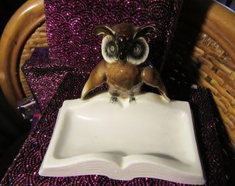 Vintage Porcelain Owl Ashtray or Trinket Tray by Gerold Porzellan Bavaria,Western Germany