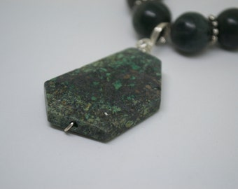 Green Grey Jasper necklace with African Turquoise Pendant - Gift For Her - Under 20