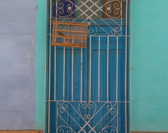 "Cuba Photography, ""Birdcage in the Doorway"", Door in Trinidad, Travel Photography, Architectural Photography, Customizable Sizes on Request"
