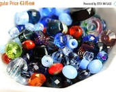 30%OFF SALE Surprise Blue beads mix, czech glass beads, blue beads, fire polished, different shapes - 15gr - 1458