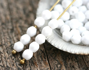 4mm White Czech glass beads, Fire polished  opaque white faceted round spacers - 50Pc - 1382