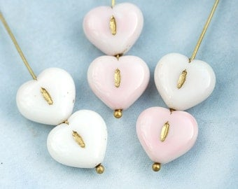 6pc Pink Blush Heart beads, Czech glass pressed beads, Golden wash, puffy hearts - 14mm - 0082