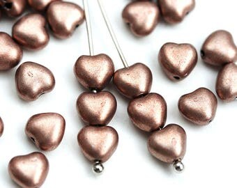 6mm Copper Heart beads, Metallic brown copper coated Czech Glass pressed beads - 50pc - 0180