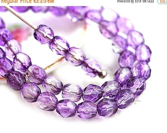 30%OFF SALE 4mm glass beads, Plum coated, purple violet spacers, czech Fire polished beads - 50Pc - SP53