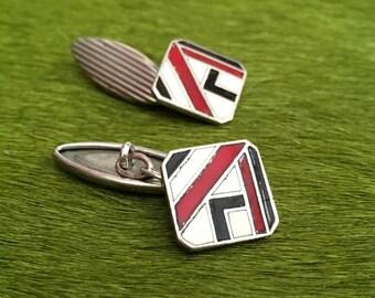 Vintage Art Deco Cuff Links Enamel Cuff Links On Silver Plate 1930s Modernist Art Deco French Accessories Brand MURAT
