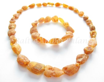 Set Of Raw Unpolished Baltic Amber Necklace and Matching Bracelet