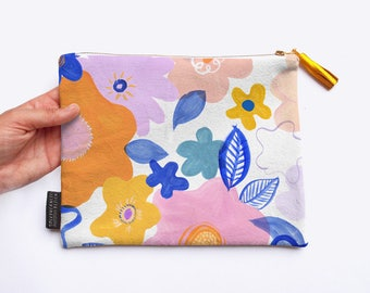 SALE Garden Mirage Cotton Bag / Pouch with Digitally Printed Floral Pattern
