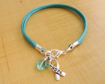 Teal Awareness Bracelet - Cotton - PTSD, Myasthenia Gravis, Ovarian Cancer, Scleroderma, Tourette Syndrome, Interstitial Cystitis & More