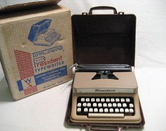 Tom Thumb Toy Typewriter with Case Vintage 1960s President Model 1826