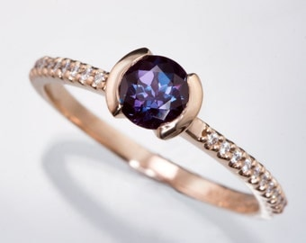 Chatham Alexandrite Engagement Ring, narrow Diamond Micro-Pave Band in Rose Gold, Yellow or White Gold, Palladium, ethical engagement ring