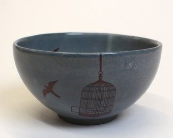 Gray Bowl with Bird Cage