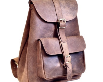 Extra Large leather backpack / Women/Men distressed brown leather backpack