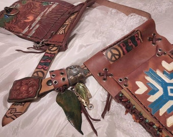 """HOLSTER Hip,Hippie Tribal Retro Recycled Vintage Leather,2 Pouches,Made to Order,1 of Kinds, Sample SOLD,no 2 alike ever/make similar """"vibe"""""""