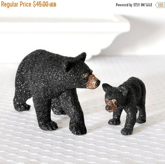 Black Bears Mom and Baby Cub Glitter Table Decoration for Woodland Weddings, Bridal Showers, Cabin Home Decor or Birthday Party Cake Topper