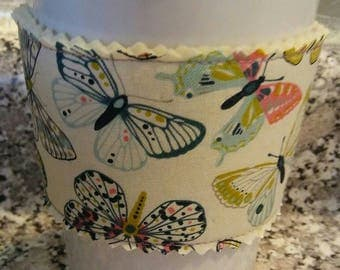 Ivory Butterfly Print Handmade Fabric Coffee Cup Cozy/Cover