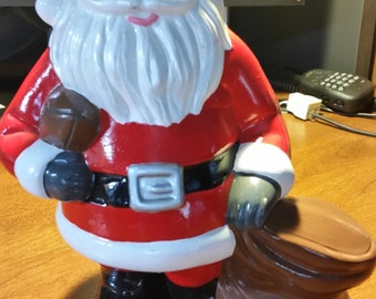 """50% OFF Vintage 1970s Christmas SANTA CLAUSE with a Football Excellent condition 9.5"""""""