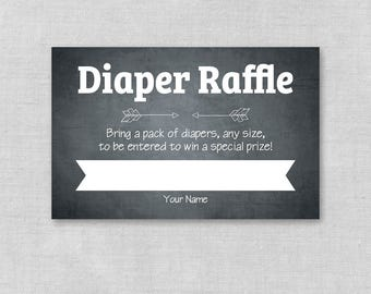 Chalkboard Baby Shower Diaper Raffle Ticket, Printable Baby Shower Diaper Raffle Cards and Sign, Baby Shower Game, Gender Neutral