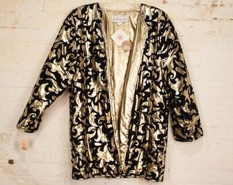 Vintage 1980s Gold & Velvet Metallic Puffy Jacket / Size Medium