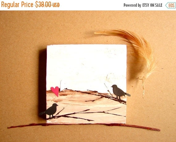 CLEARANCE SALE Love Birds on Branches-Mixed Media on Wood Block-Wedding Anniversary & Couple's Gift