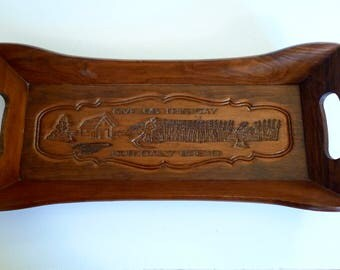 Large Wooden Serving Tray - Bread Tray - Give Us This Day Our Daily Bread Carved with a Wheat Field and Farm - Rustic Wooden Bread Tray