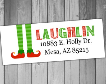 Christmas Return Address Label Christmas Labels Holiday Return Address Labels Printable Return Address Labels Elf Christmas