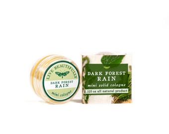 SUMMER SALE - Dark Forest Rain Mini Cologne - All Natural - Masculine, Earth and Moss, Lemongrass