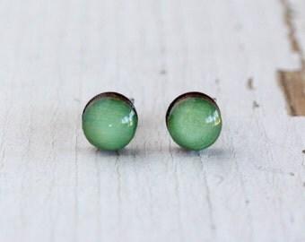 Sage Green Handpainted Wooden Post Earrings - Titanium - Nickel Free Hypoallergenic 6mm