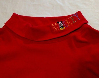 MICKEY & Co DISNEY Turtleneck Shirt Women Men Size XL Vintage Mickey Mouse Red Stretch Jersey Knit