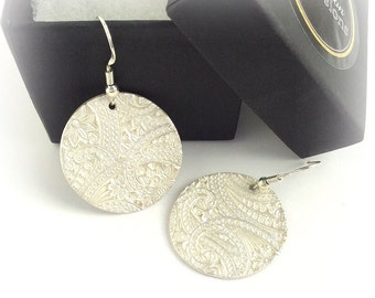 Large Round Silver Paisley Earrings, Paisley Textured Dangle Earrings,gift under100,gift for women,Fine Jewelry,Handmade Original,Christmas