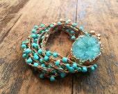 Golden Skies: Versatile crocheted necklace / bracelet / belt / headband