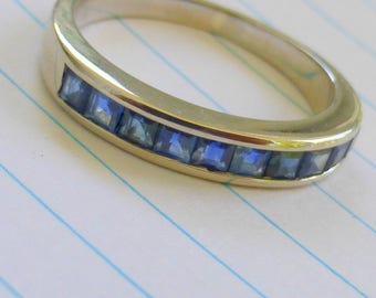 14k white gold Natural sapphire wedding or stack band 7