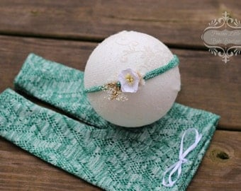 ready to ship, newborn photography prop, lace knit green pants with matching tieback, newborn baby prop, newborn girl prop